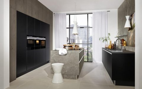 Manhattan - Marmor grau / Phoenix - Schwarz softmatt